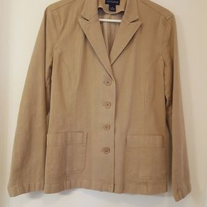 Ann Taylor tan denim blazer jacket size 10